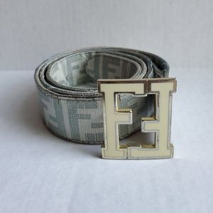 Worn Fendi FF White Grey Leather Belt 120CM